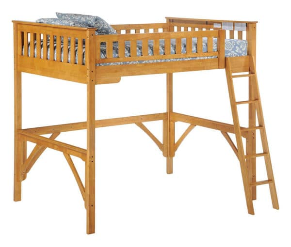 ginger full high loft bed medium oak finish