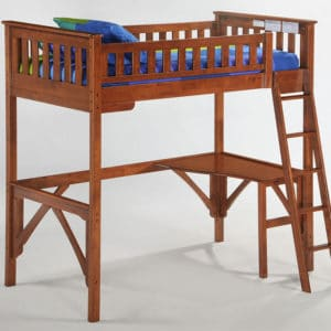ginger twin high loft bed cherry finish