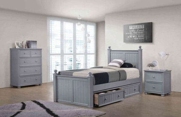 jay furniture bead board bed in grey