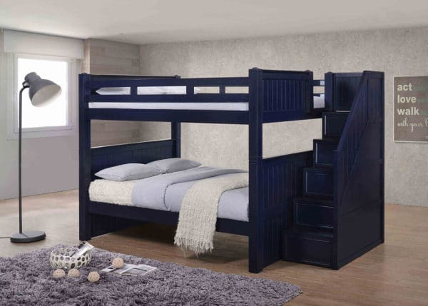 Jay furniture Full Full Bunk Bed with Step Drawers in Navy