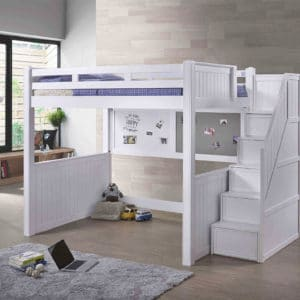 jay full loft bed in white