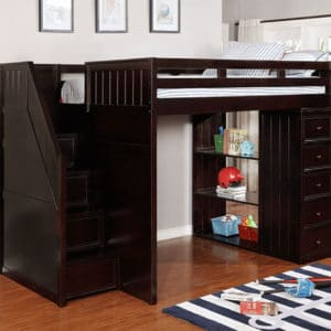 jay furniture full loft bed with chest and side steps in espresso