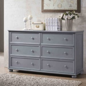 jay beadboard 6 drawer dresser grey