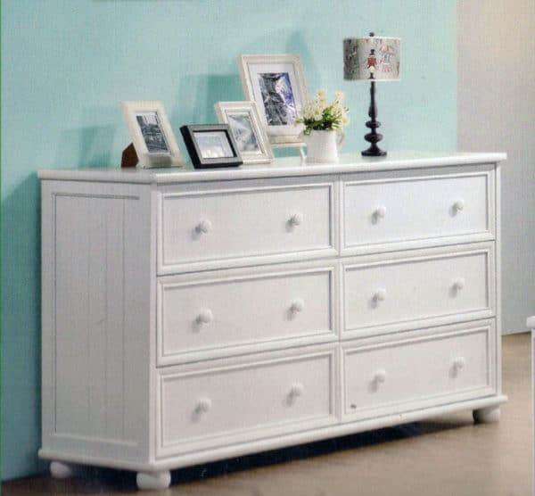 jay beadboard 6 drawer dresser white