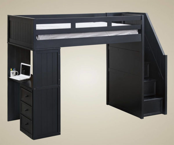 jay furniture loft bed with stairs in navy blue