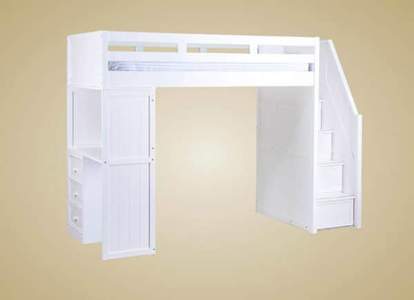 jay furniture loft bed with stairs in white