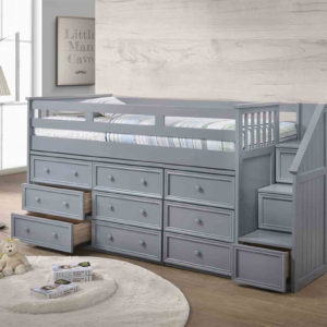 jay furniture twin junior loft bed with step drawers in grey