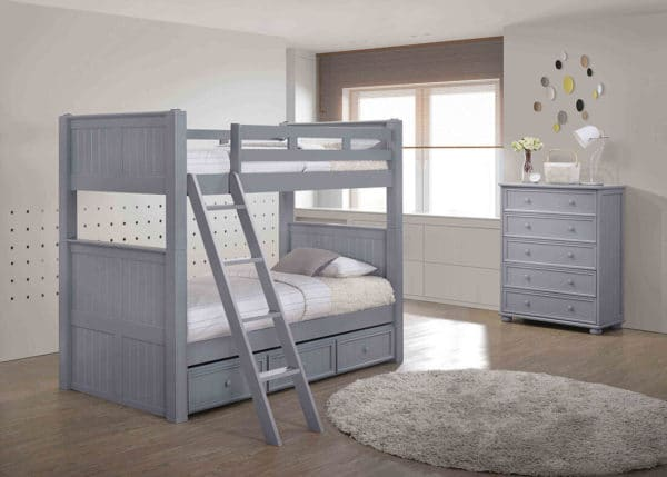 jay furniture twin twin beadboard bunk bed in grey