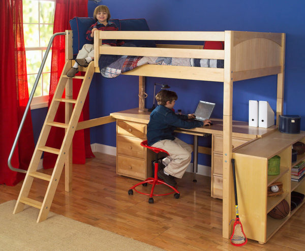 maxtrix high loft bed natural finish with desk and chair