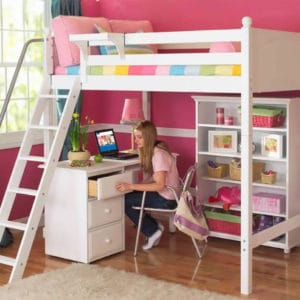 maxtrix high loft bed white with desk and chair