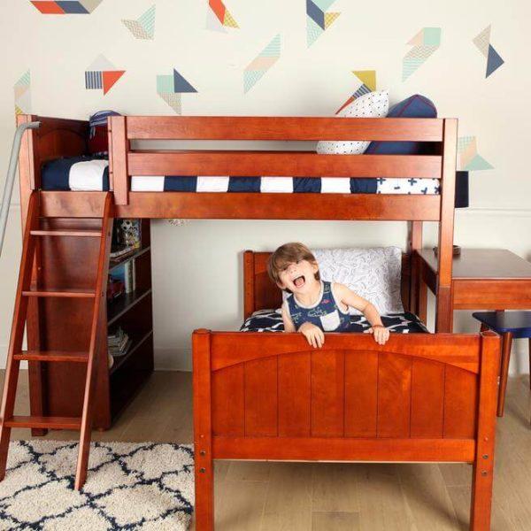 maxtrix l shaped bunk bed chestnut