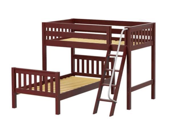 maxtrix l shaped bunk bed chestnut finish
