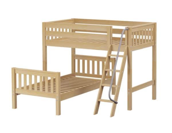 maxtrix l shaped bunk bed natural finish