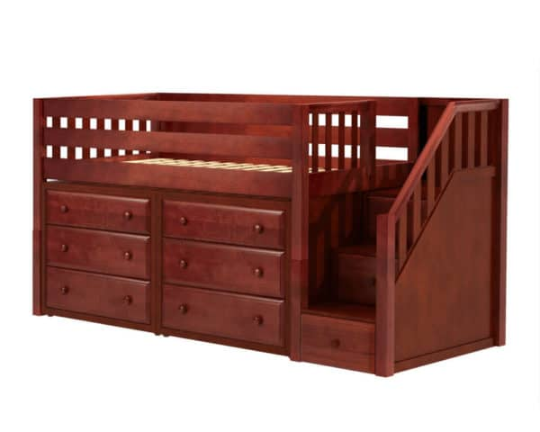 maxtrix low loft bed with staircase chestnut finish