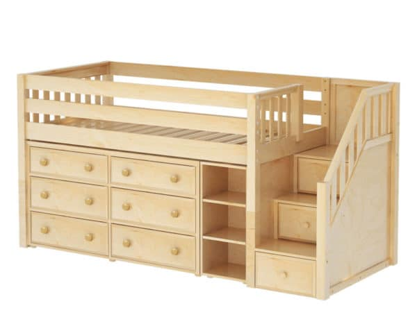 maxtrix low loft bed with staircase natural finish