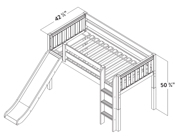 maxtrix princess loft bed dimensions diagram