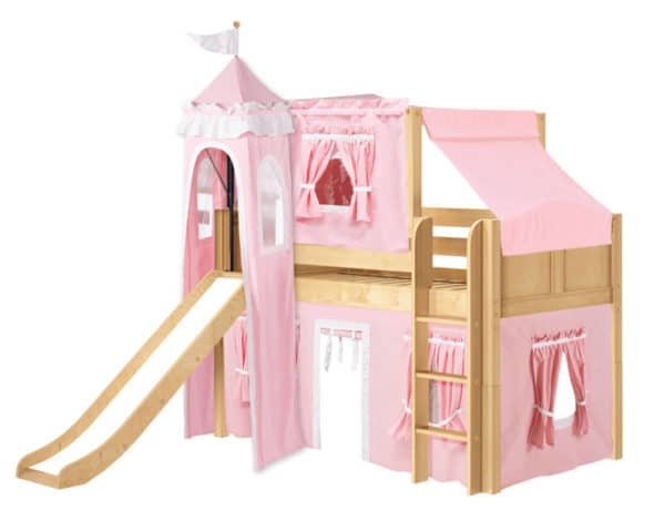 maxtrix princess loft bed natural finish