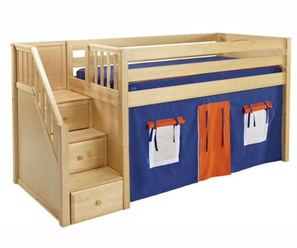 maxtrix low loft bed with staircase and tent in natural