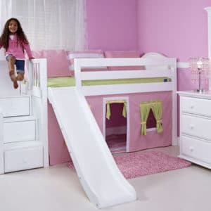 maxtrix low loft bed with staircase and slide in white