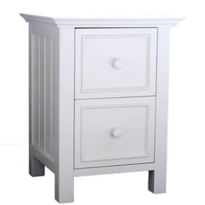 mushroom sherwood 2 drawer nightstand in white