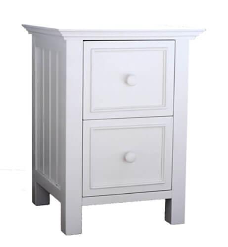 mushroom sherwood 2 drawer nightstand in white