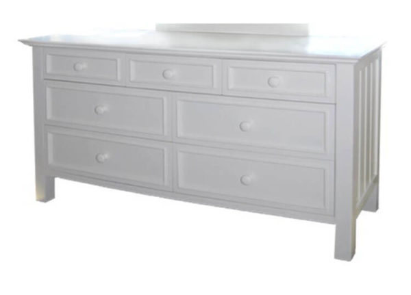 mushroom sherwood 7 drawer dresser in white