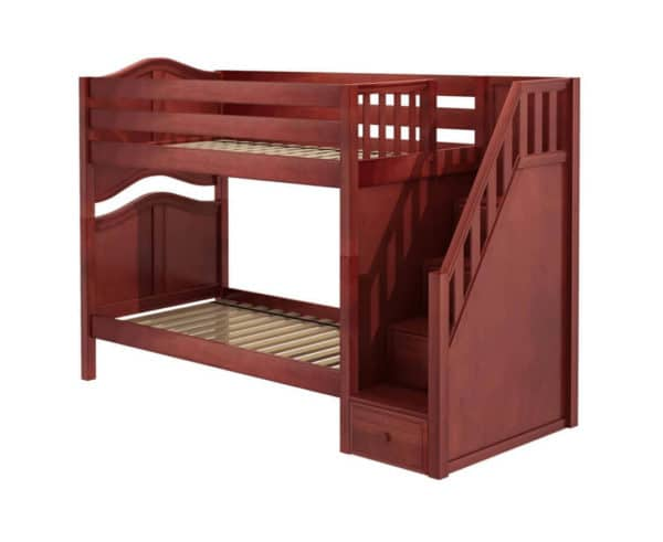 maxtrix twin twin bunk bed curved with stairs in chestnut