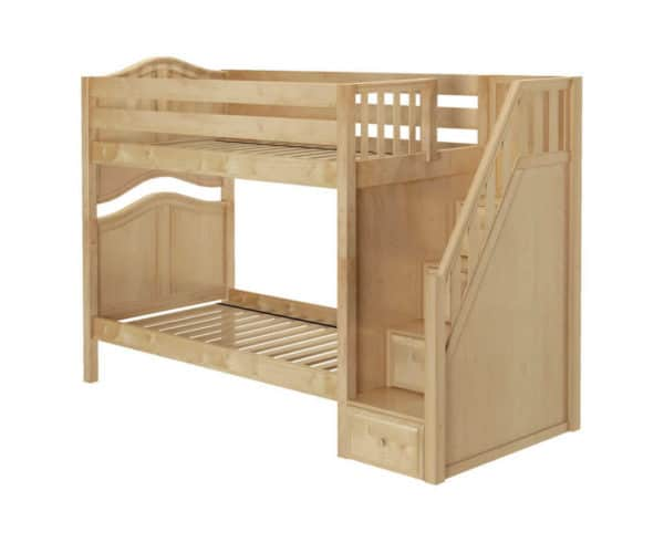 maxtrix twin twin bunk bed curved with stairs natural finish