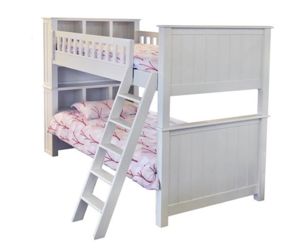 mushroom sherwood twin over twin bunk bed with bookcase headboard