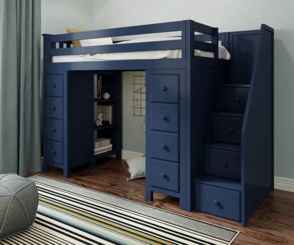 jackpot chester loft bed with storage navy blue