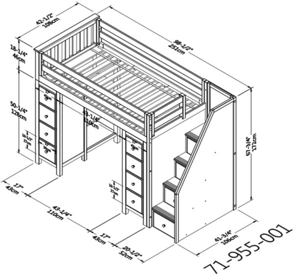 jackpot chester loft bed with storage dimension diagram