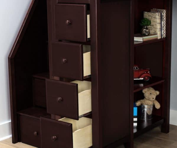 jackpot chester loft bed with storage espresso drawer detail