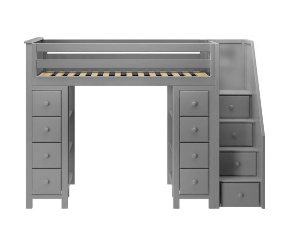 jackpot chester loft bed with storage grey front view