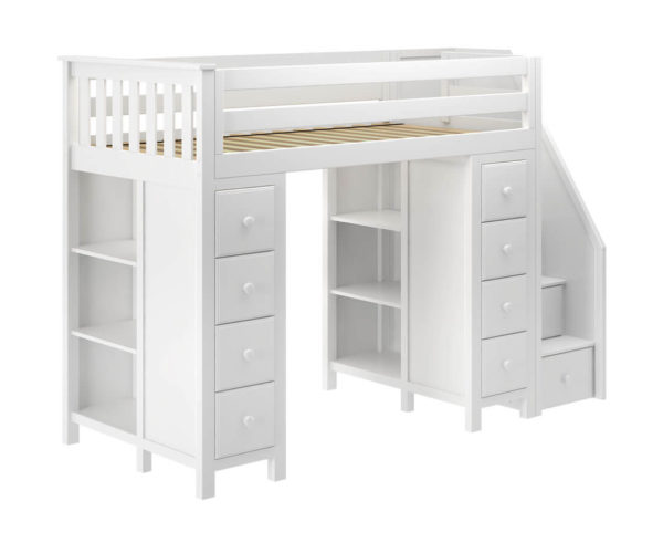 jackpot chester loft bed with storage white left view