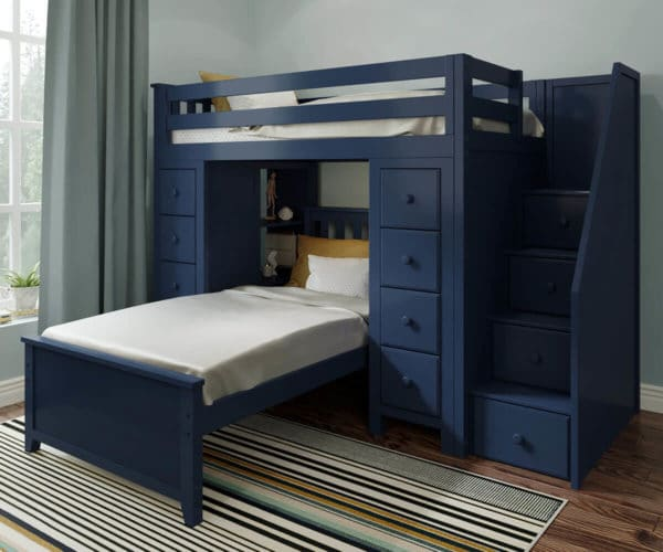 jackpot chester twin over twin loft bed with storage navy blue