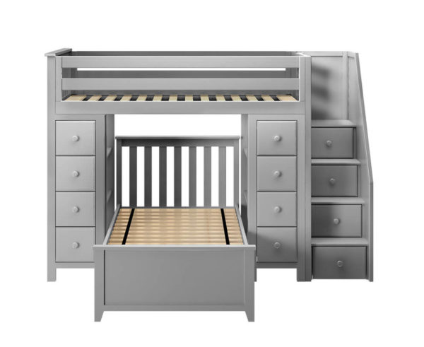 jackpot chester twin over twin loft bed with storage grey front view