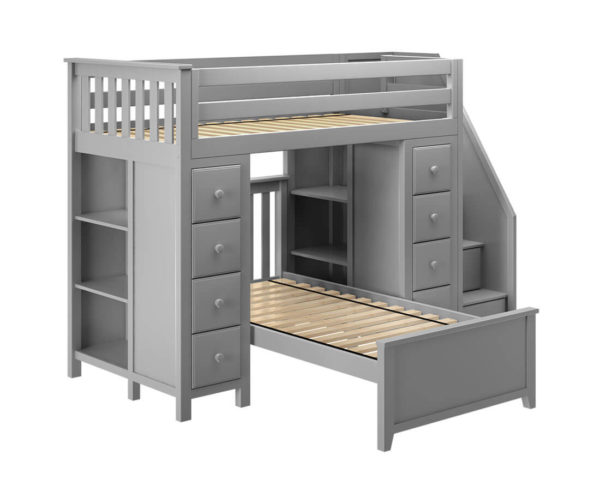 jackpot chester twin over twin loft bed with storage grey left view