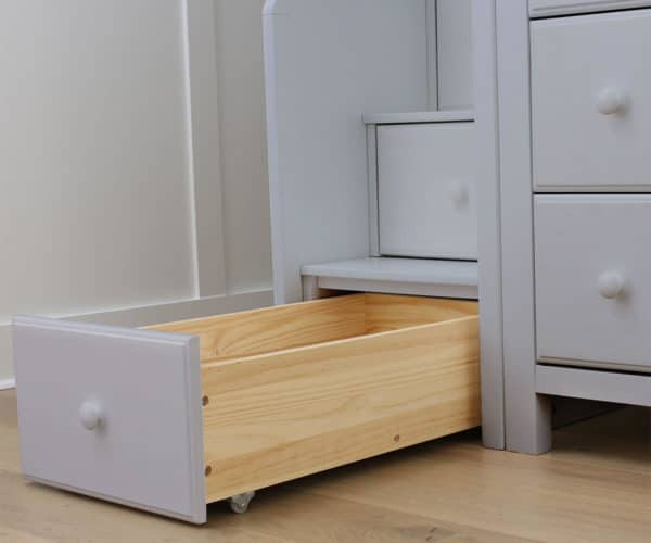 jackpot chester loft bed with storage grey drawer detail