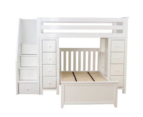 jackpot chester twin over twin loft bed with storage white front view
