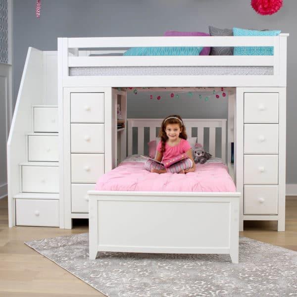 jackpot chester twin over twin loft bed with storage white