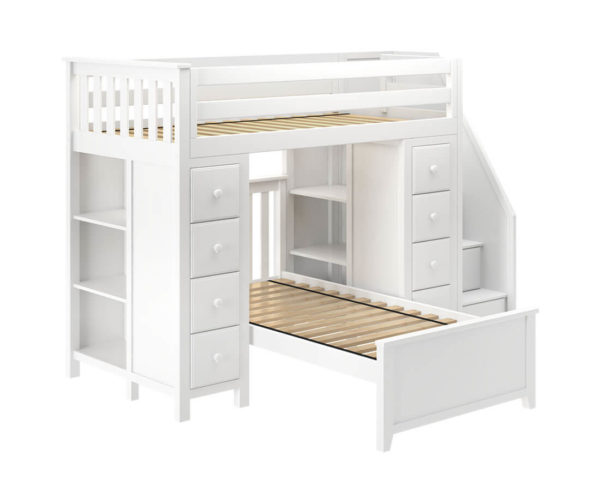 jackpot chester twin over twin loft bed with storage white left view