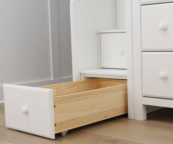 jackpot chester loft bed with storage white drawer detail