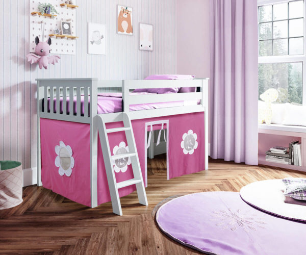 jackpot york twin play loft pink curtain with angled ladder white