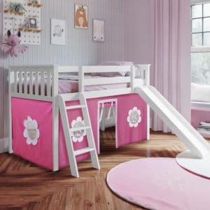 jackpot york twin play loft pink curtain with angled ladder slide white