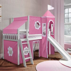 jackpot york twin play loft pink curtain with angled ladder slide top tent white