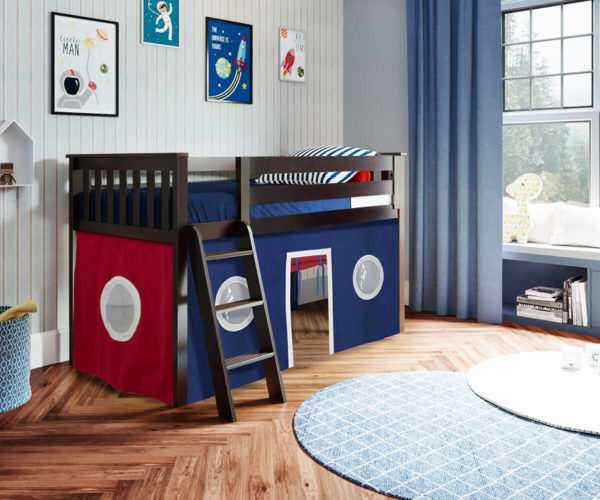 jackpot york twin play loft blue curtain with angled ladder white