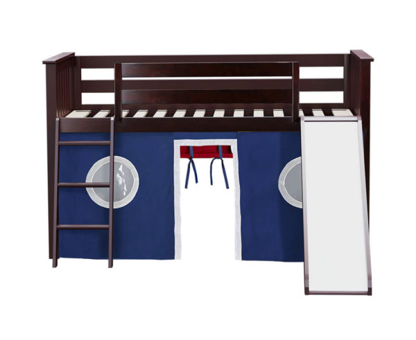 jackpot york twin play loft blue curtain with angled ladder slide white