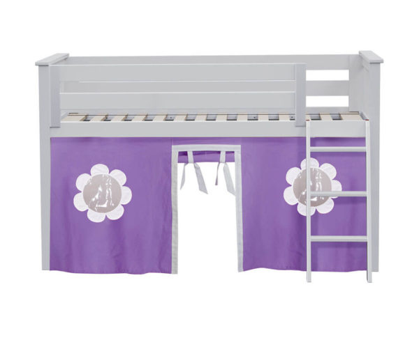 jackpot york twin play loft purple curtain with angled ladder white
