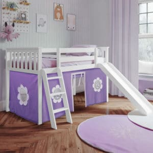 jackpot york twin play loft purple curtain with angled ladder slide white