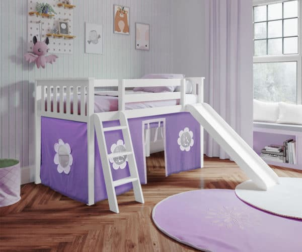 jackpot york twin play loft purple curtain with angled ladder slide white